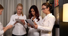 Business Women Work Cooperation Teamwork Collaboration Team Office Job Activity Stock Footage