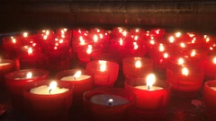 Votive Offering Inside A Church, Prayer candles Stock Footage