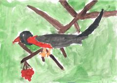 A child drawing of bird sitting on branch of Rowan Stock Photos