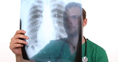 Medicine Doctor Man Interpret Symptoms Analyzing Pulmonary X-Ray Hospital Room Stock Footage