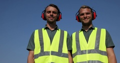 Airport Staff People Looking Camera Optimistic Thumb Up Sign Aerospace Industry Stock Footage