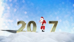 Santa Claus Dancing in the snow, forming 2017, holiday greeting card Arkistovideo