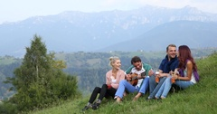 Young Couple People Group Drink Juice Singing Guitar Folk Music Nature Mountain Stock Footage