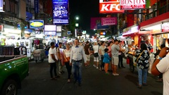 The Khao San Road at night Stock Footage