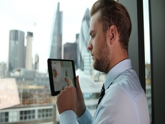 Business Man Check Brexit Sale Report Digital Tablet Disappointed Results London Stock Footage