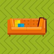 Vector illustration of sofa in flat icons set Stock Illustration