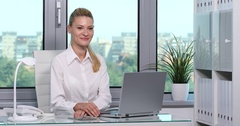 Businesswoman Looking Interview Posing and Smiling Negative Answer Office Room Stock Footage