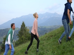 Happy People Group of Friends Hike Uphill on a Footpath Mountain Freedom Concept Stock Footage