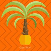 Africa plants. Palm trees, flowers and green grass, white background Stock Illustration
