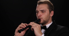 Flutist Man Play Recorder Flute Instrument Classical Music Performer Job Concept Stock Footage