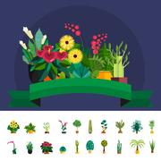 Set of flowers in pot isolated for greenhouse or garden planting market vector Stock Illustration