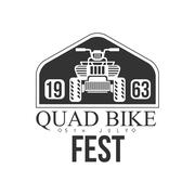 Quad Bike Event Label Design Black And White Template With Text For Quadricycle Stock Illustration