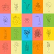 Greenhouse Housing Different Types of Plants, vector flat Illustration Stock Illustration