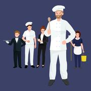 Restaurant team, Occupation Chef man in a white suit and working in cap on his Stock Illustration