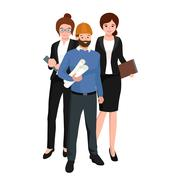 Civil engineer, architect and construction workers group of people Stock Illustration