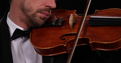 Close Up Shot Violinist Musician Play Violin Instrument Orchestral Music Concept Stock Footage