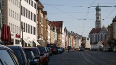 The Maxstrasse in Augsburg Stock Footage