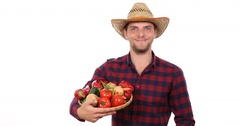 Happy Farmer Man Holding Mixed Vegetables Pile Production Harvest Thumb Up Sign Stock Footage