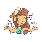 Dancing Girl In Cap, Choker And Blue Top Hand Drawn Emoji Cool Outlined Portrait Stock Illustration