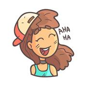Laughing Girl In Cap, Choker And Blue Top Hand Drawn Emoji Cool Outlined Stock Illustration