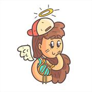 Angel Girl In Cap, Choker And Blue Top Hand Drawn Emoji Cool Outlined Portrait Stock Illustration