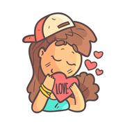 In Love Girl In Cap, Choker And Blue Top Hand Drawn Emoji Cool Outlined Portrait Stock Illustration