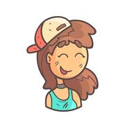 Smiling Girl In Cap, Choker And Blue Top Hand Drawn Emoji Cool Outlined Portrait Stock Illustration