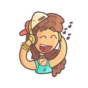Girl In Cap, Choker And Blue Top Listening To Music Hand Drawn Emoji Cool Stock Illustration