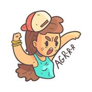 Aggressive Girl In Cap, Choker And Blue Top Hand Drawn Emoji Cool Outlined Stock Illustration