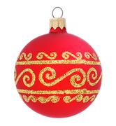 Red Christmas ball . xmas decoration isolated Stock Photos