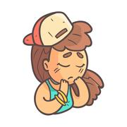 Sad Girl In Cap, Choker And Blue Top Hand Drawn Emoji Cool Outlined Portrait Stock Illustration