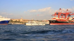 Haydarpasa Port and Container Ship Stock Footage