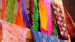Colorful clothes on the streets of Jaisalmer, Rajasthan, India Stock Footage
