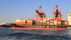 Container ship Inception full of load at port Stock Footage