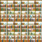 Library, bookstore - Seamless pattern with books on bookshelves Stock Illustration