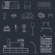 Home, hotel room interior with comfortable furniture outline vector illustration Stock Illustration