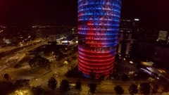 Aerial view. Torre Agbar in Barcelona. Spain. ProRes. Night. 4K. Stock Footage