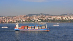 High angle view of Bosphorus Sea with a Cargo ship carrying containers Stock Footage