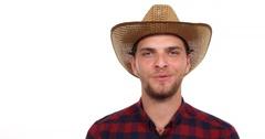 Happy Handsome Farmer Man Talking Marketing Tropical Bio Mango Organic Fruit Stock Footage
