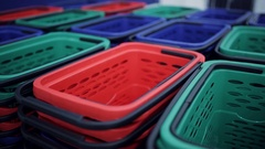 Multicolored shopping basket in a supermarket Stock Footage