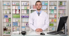 Pharmacist Man Staff Presentation Drugstore Shop Pharmacy Personnel Introduction Stock Footage