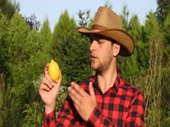 Optimistic Farm Laborer Man Explaining About Bio Lemon Farming Tropical Citrus Stock Footage
