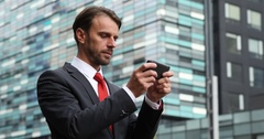 Business Man Texting Message Working Team Collaboration Front Headquarters Built Stock Footage
