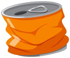 Used aluminum can in orange color Stock Illustration