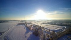 Winter aerial morning evening over farms Stock Footage