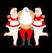 Bad Santa Claus and sexy girls. Entertainment for adults. Strippers hugging.. Stock Illustration