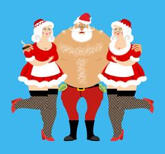 Santa Claus and sexy girls. Entertainment for adults. Strippers hugging man.. Stock Illustration
