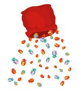 Santa bag rain gifts. Christmas sack with gift. gift lot of festive box Stock Illustration