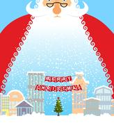Santa Claus in city. Christmas in town. Snow and buildings. New Year card. .. Piirros