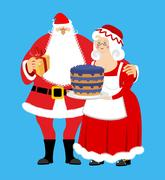 Santa and Mrs. Claus isolated. Christmas family. Woman in red dress and whi.. Stock Illustration